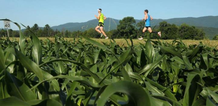 Mad Marathon competitors running by one of many hillside farms
